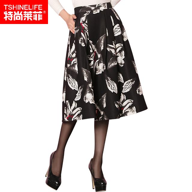 印花裙中长款半身裙