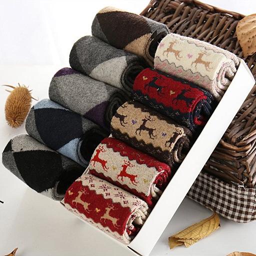 男女士兔羊毛中筒袜10双